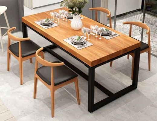 LEIA Solid Rubber Wood Steel Leg Dining Table Sets