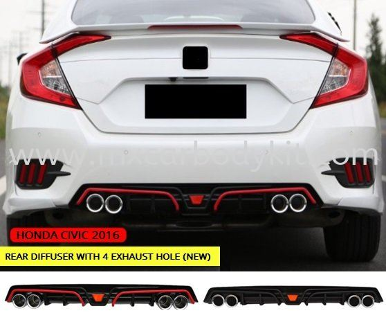 HONDA CIVIC 2016 FC REAR DIFFUSER WITH 4 EXHAUST PIPE (NEW) CIVIC FC 2016 HONDA