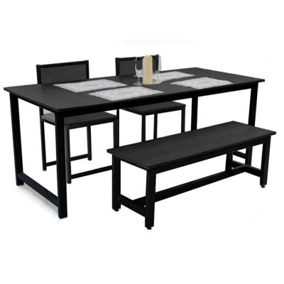 Contemporary Black Frame Creative Bundle Dining Table With Chairs and Bench Set