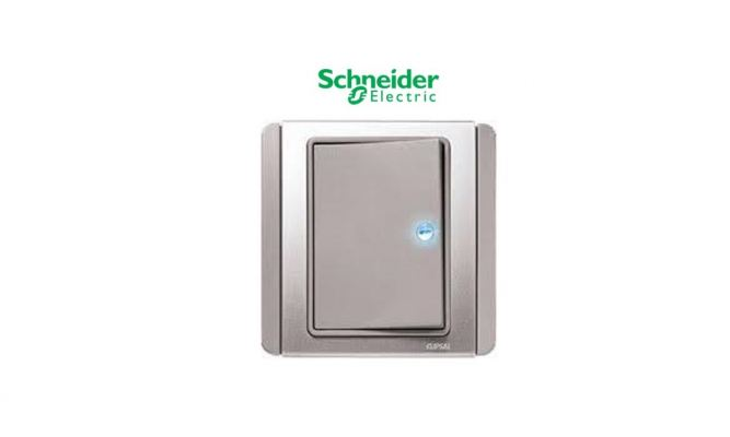 Schneider NEO E3031H1 Horizontal Dolly Switch 1 Gang 1 Way with Blue LED, Grey Silver
