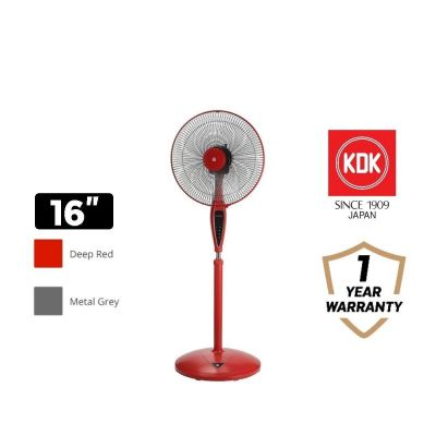 "KDK 16"" Stand Fan KX405 Metal Grey / Deep Red"
