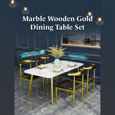 Marble Wooden Gold Dining Table Set with 4 Chair