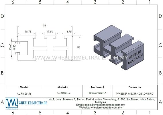 Aluminium Profile 25 x 56
