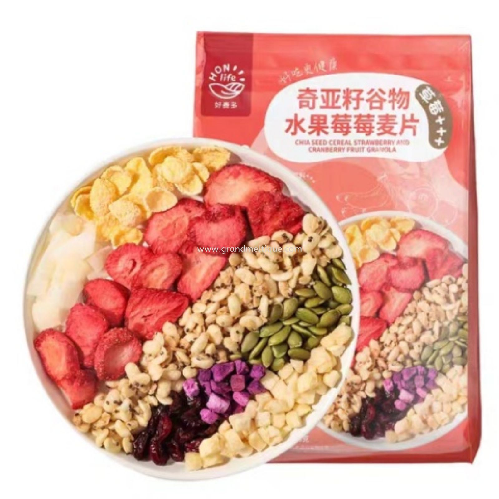 HONLIFE CHIA SEED CEREAL STRAWBERRY GRANOLA 酸奶莓莓麦片300G