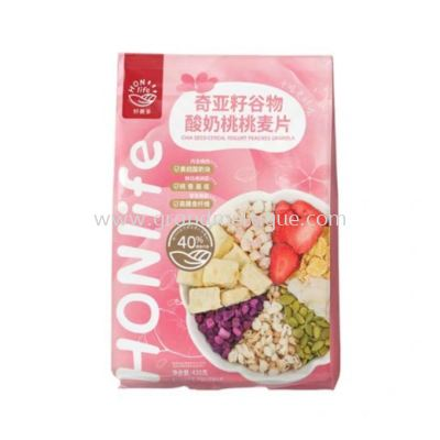 HONLIFE CHIA SEED CEREAL PEACH YOGURT GRANOLA 好麦多酸奶桃桃麦片 300G