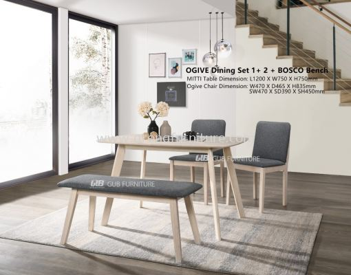 OGIVE DINING SET 1+2+BENCH