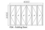 FD4 Natural Anodised c/w 12mm Albedoor Multifold Door MF02-40 Folding Door
