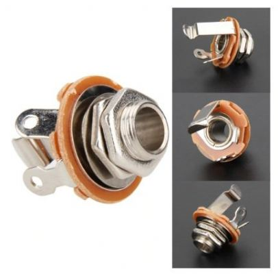 6.35mm 2-Conductor Durable Switchcraft Practical Mono Chassis Guitar Nickel Panel Jack Input Output