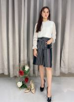 768858 TWO-TONED POCKET STRIPY CULOTTE【1st 10% 2nd 20% 3rd 30%】
