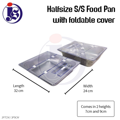 Halfsize Stainless Steel Food Pan w/ foldable cover