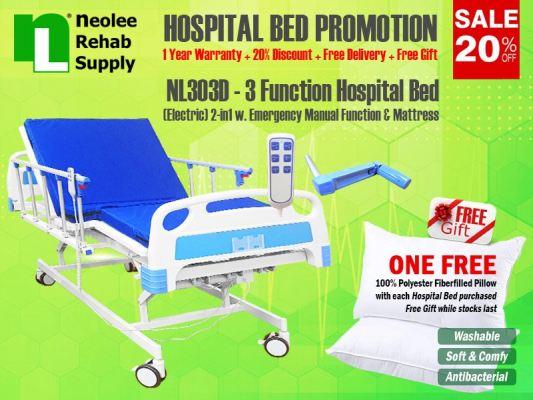 NL303D Hospital Bed 3 Functions (Electric)