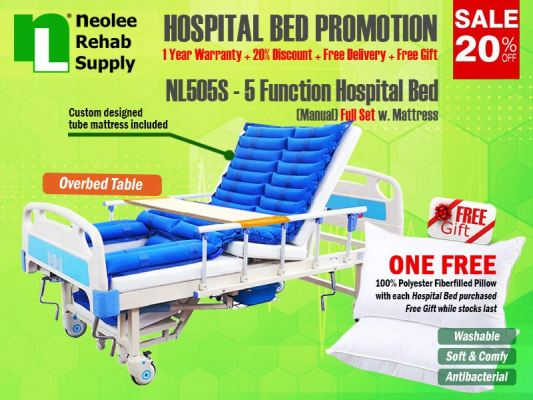 NL505S [Full Set] Hospital Bed 5 Functions (Manual)