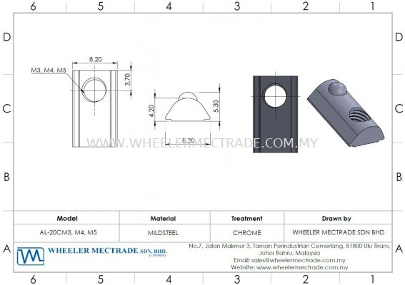M3, M4, M5 Drop In Nut for Alu Profile P5 Series