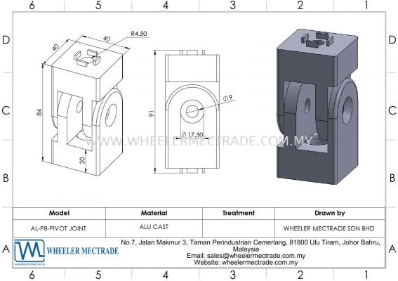 Pivot Joint for Alu Profile P8 Series