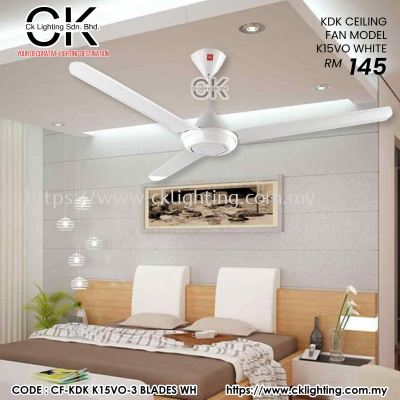 CK LIGHTING KDK CEILING FAN MODEL K15VO WHITE (CF-KDK K15VO-3 BLADES WH)