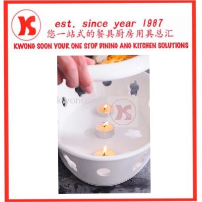 Porcelain Steam Plate With Candle Stand
