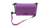 ELEGANT SILICONE JELLY CROSSBODY QUILTED SLING BAG WITH CHAIN STRAP SLING BAG Purses