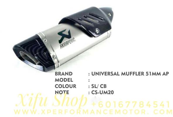 EXHAUST MUFFLER RACING UNIVERSAL 51MM CS-EM20