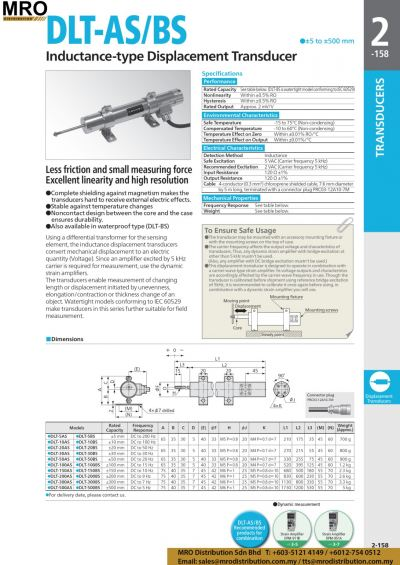 Inductance-type Displacement Transducer DLT-AS/BS