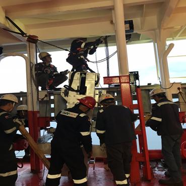 Gangway Stowing Davit Installation Portside MECHANICAL WORKS