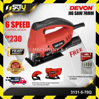 DEVON 3131-5-70Q Jig Saw with LED Variable Speed 750 / 800W + Makita Jig Saw Blade (A-85628)
