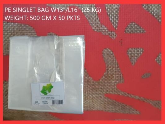 "PE SINGLET BAG W13""/L16"" (25 KG)"