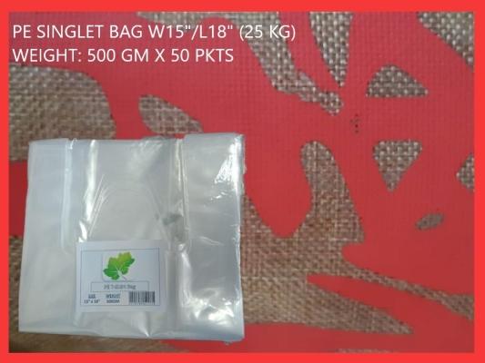 "PE SINGLET BAG W15""/L18"" (25 KG)"