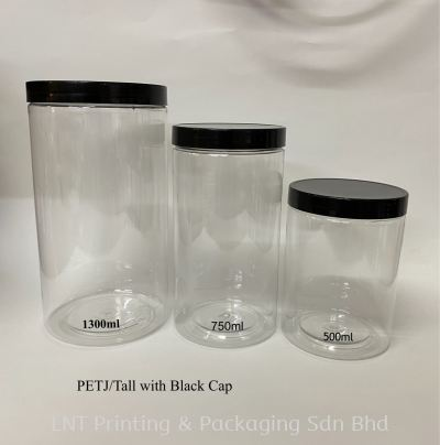 Clear per Container With Black Cap