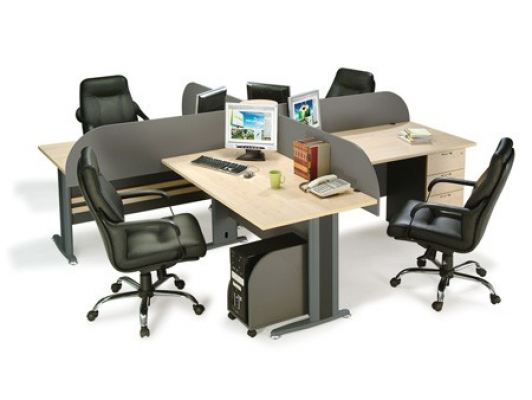 4 Cluster Workstation with J leg and wooden hanging board panel