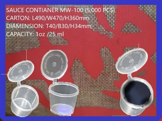 MW-100 SAUCE CONTIANER WITH LID (5,000 PCS)