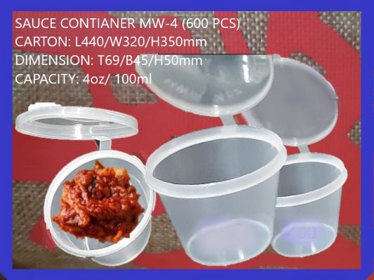 MW-400 SAUCE CONTIANER WITH LID (600 PCS)