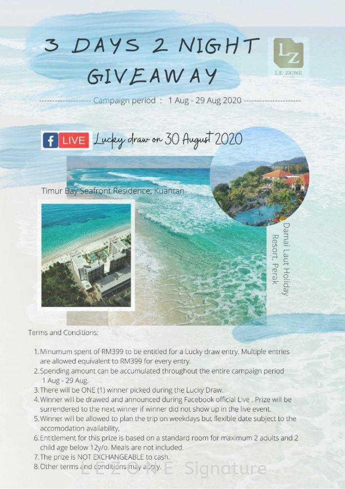 3 DAYS 2 NIGHT GIVEAWAY (CAMPAIGN PERIOD 1 AUG - 29 AUG 2020)