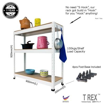 T Rex Multipurpose 3 Tier Boltless Storage Rack (White)