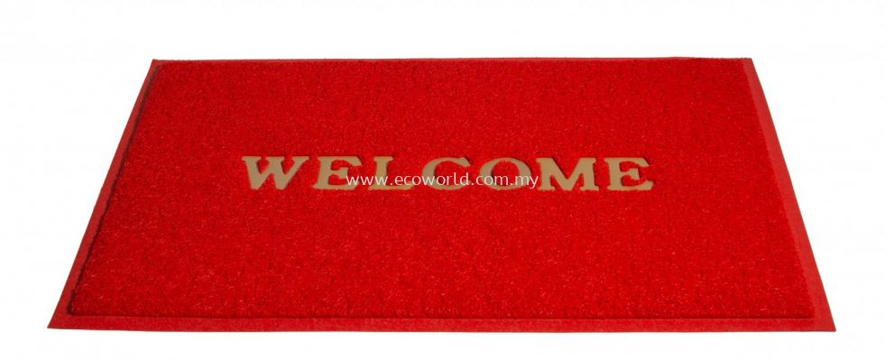 2'x3' Standard Coil Mat With Welcome - Red