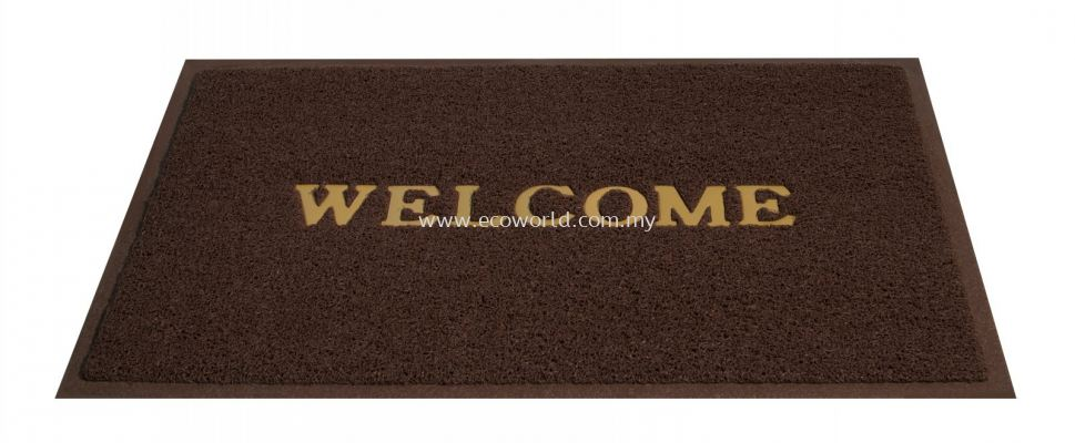 2'x3' Standard Coil Mat With  Welcome-Brown