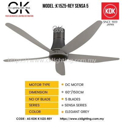 CK LIGHTING KDK CEILING FAN MODEL K15Z5-REY SENSA 5 LONG (AS KDK K15Z5-REY)