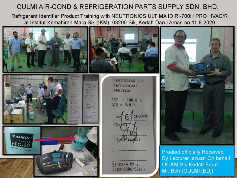 Refrigerant Identifier Product Training with NEUTRONICS ULTIMA ID RI-700H PRO at IKM Sik Kedah