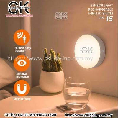 CK LIGHTING SENSOR LIGHT LED RECHARGEABLE MINI LED 8.6CM (LJ-SL-RD-WH)