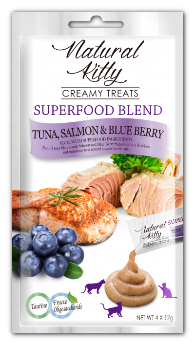 Natural Kitty SUPERFOOD BLEND - Tuna, Salmon & Blueberry
