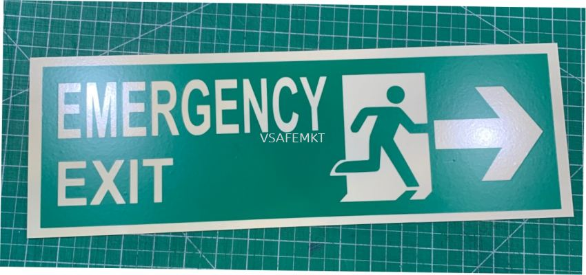 Photo luminous Glow In The Dark Signage - Emergency Exit Right