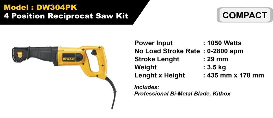 Dewalt 4 Position Reciprocat Saw Kit