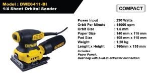 Dewalt 1/4 Sheet Orbital Sander - DWE6411-BI