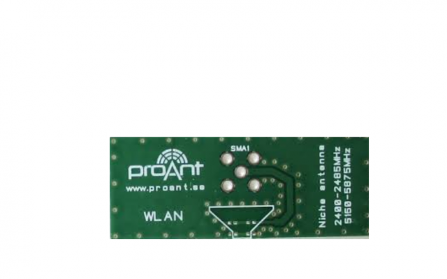 ProAnt Niche™ WLAN Antenna, Small PCB embedded antenna for use on the the 2.4GHz and 5 GHz ISM bands, suitable for applications in Bluetooth, WLAN, Wifi, Zigbee, etc.
