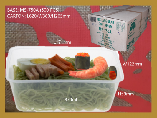 MS-750A BASE ONLY RECTANGULAR CONTAINER (500 PCS)