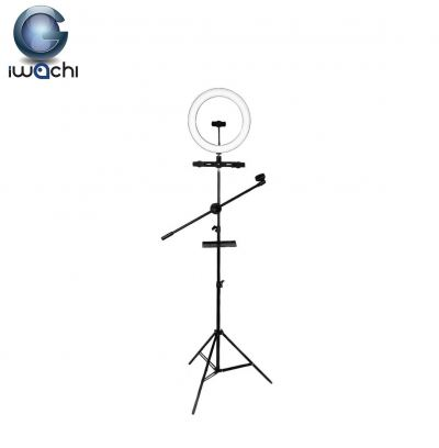 Iwachi 1.6M 32cm USB Ring Light - 3in1 w/Tray/Mic & 2HP Holder