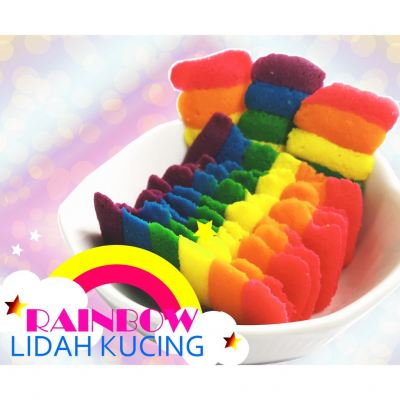 Rainbow Thins Lidah Kucing Biskut Birthday Gift Hadiah Free WishCard