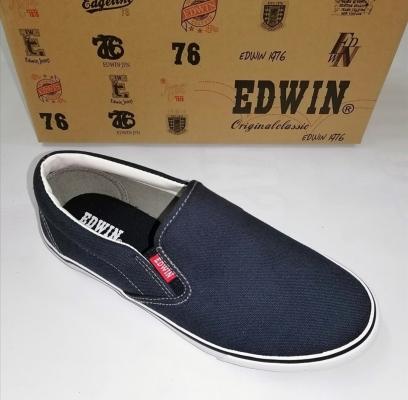 Edwin men canvas slip on Navy shoes E30277-10
