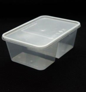 T-1000DS (1000ml) 2 Compartment Rect Container With Lid (30% and 70%)