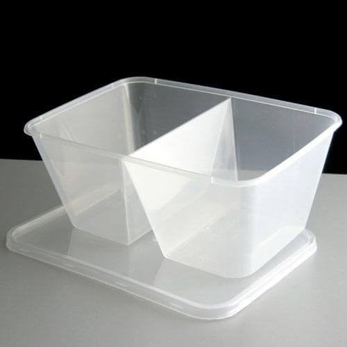 T-1000D (1000ml) 2 Compartment Rect Container With Lid (50% and 50%)