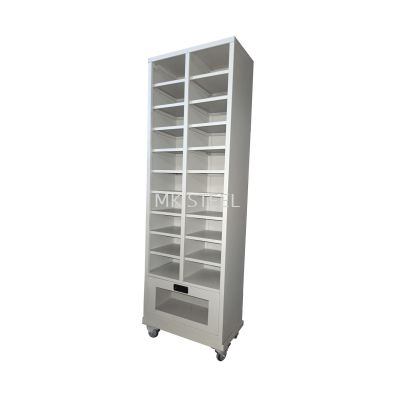 CUSTOM MADE 20 PIGEON HOLE & 1 DRAWER WITH ACRYLIC WINDOW + 3'' PU CASTOR TROLLEY